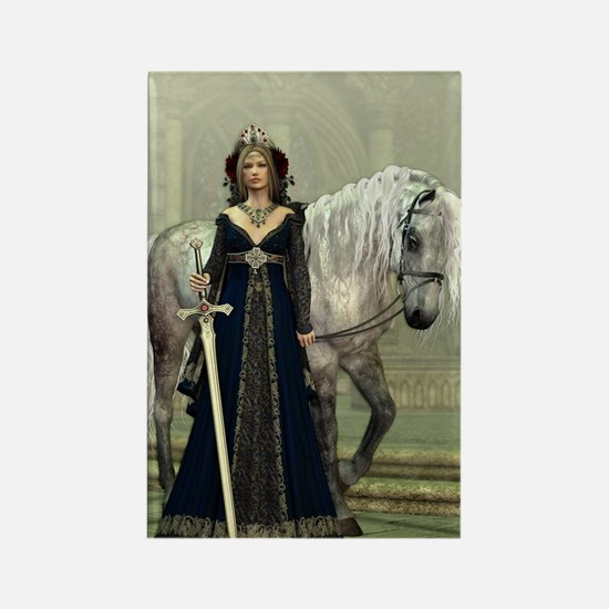 Medieval Lady and Horse Rectangle Magnet