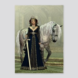 Medieval Lady and Horse 5'x7'Area Rug