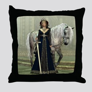 Medieval Lady and Horse Throw Pillow