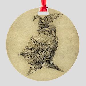 Knight Fantasy Grunge Round Ornament