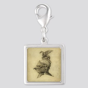 Knight Fantasy Grunge Silver Square Charm