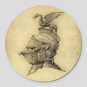 Knight Fantasy Grunge Round Car Magnet