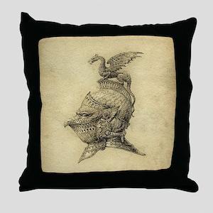 Knight Fantasy Grunge Throw Pillow