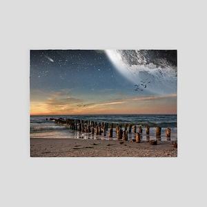 Supermoon Beach 5'x7'Area Rug