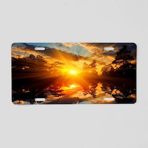 Sunset over Lake Aluminum License Plate