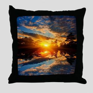 Sunset over Lake Throw Pillow