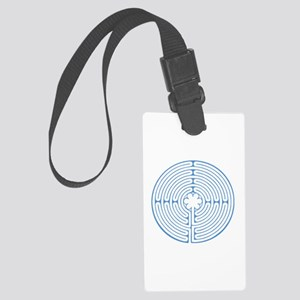 Blue Chartres Labyrinth Large Luggage Tag