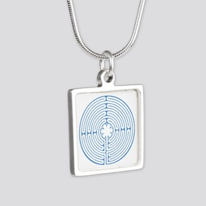 Blue Chartres Labyrinth Silver Square Necklace