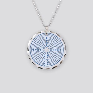 Blue Chartres Labyrinth Necklace Circle Charm