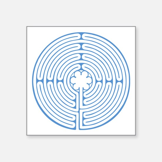 """Blue Chartres Labyrinth Square Sticker 3"""" x 3"""""""