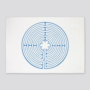 Blue Chartres Labyrinth 5'x7'Area Rug