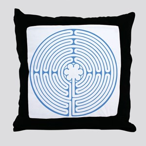 Blue Chartres Labyrinth Throw Pillow