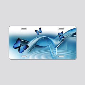 Blue Butterflies Aluminum License Plate
