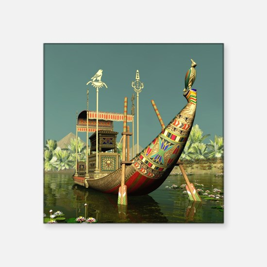 "Ancient Egyptian Barge Square Sticker 3"" x 3"""