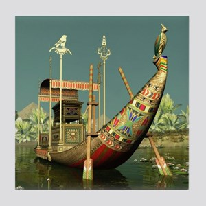 Ancient Egyptian Barge Tile Coaster