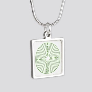 Green Chartres Labyrinth Silver Square Necklace