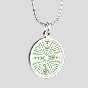 Green Chartres Labyrinth Silver Round Necklace