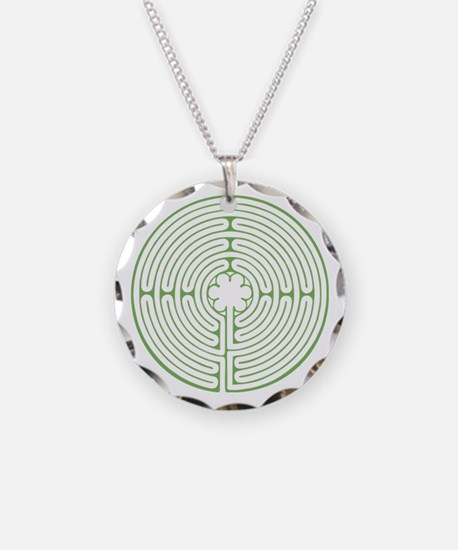 Green Chartres Labyrinth Necklace Circle Charm