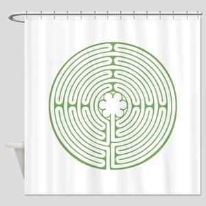 Green Chartres Labyrinth Shower Curtain