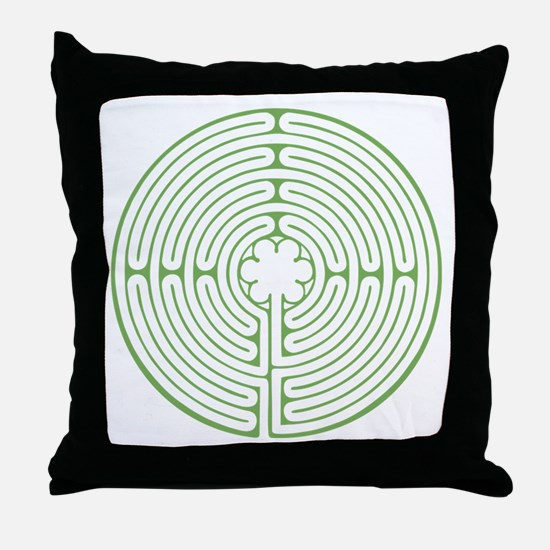 Green Chartres Labyrinth Throw Pillow