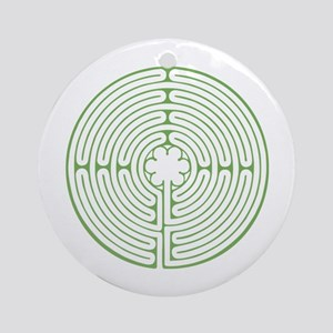 Green Chartres Labyrinth Round Ornament