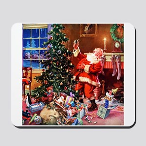 Santa Claus Decorates the CHirstmas Tree Mousepad