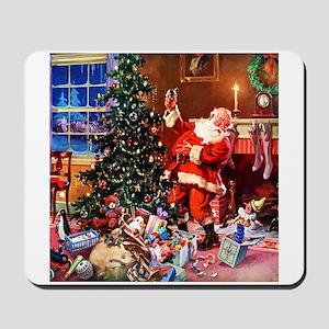 Santa Claus Decorates the CHirstmas Tree Mousepad