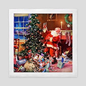 Santa Claus Decorates the CHirstmas Tr Queen Duvet