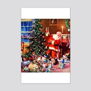 Santa Claus Decorates the CHirst Mini Poster Print