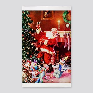 Santa Claus Decorates the Chirstmas Tree Area Rug