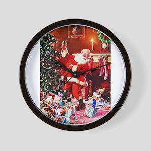 Santa Claus Decorates the Chirstmas Tre Wall Clock
