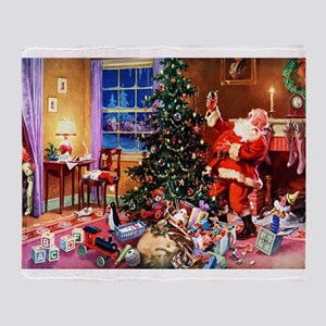 Santa Claus Decorates the CHirstmas Throw Blanket