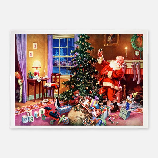 Santa Claus Decorates the CHirstmas 5'x7'Area Rug