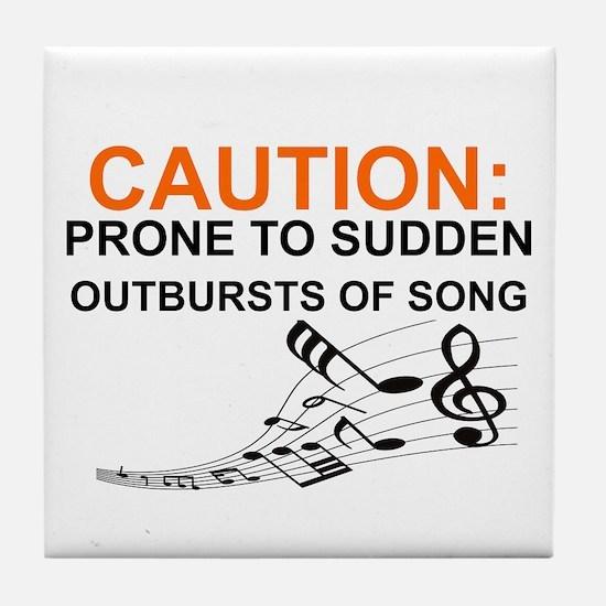 Cute Caution Tile Coaster