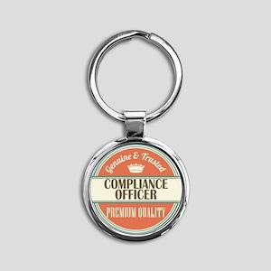 compliance officer vintage logo Round Keychain