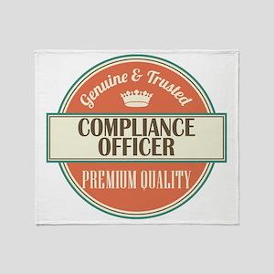 compliance officer vintage logo Throw Blanket