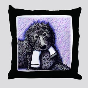Usual Suspect, BLACK DOODLE Throw Pillow