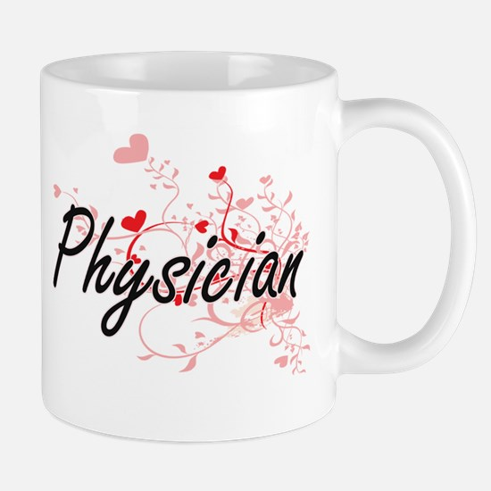 Physician Artistic Job Design with Hearts Mugs