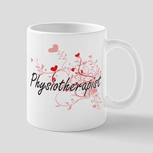 Physiotherapist Artistic Job Design with Hear Mugs