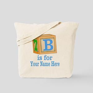 Custom Blue Block Tote Bag