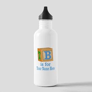 Custom Blue Block Water Bottle