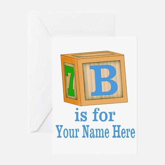 Custom Blue Block Greeting Cards