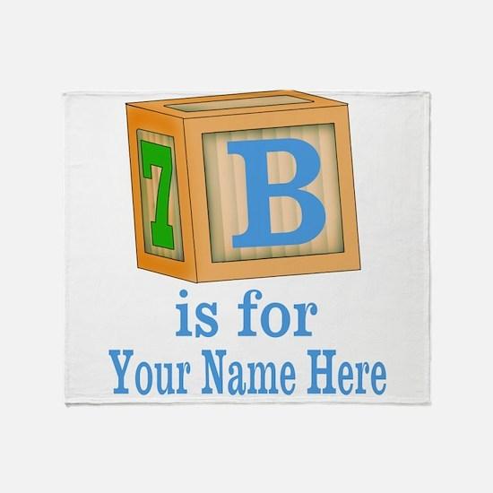 Custom Blue Block Throw Blanket