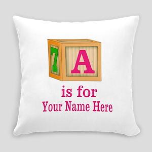 Custom Pink Block Everyday Pillow