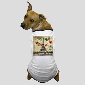 vintage butterfly paris eiffel tower Dog T-Shirt