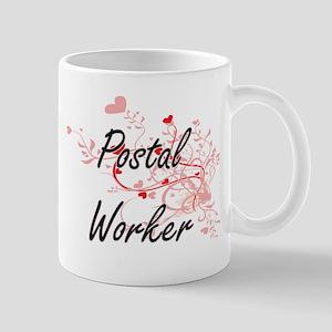 Postal Worker Artistic Job Design with Hearts Mugs