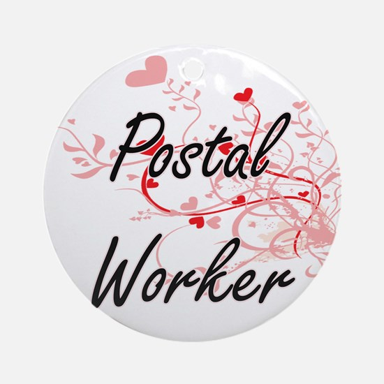 Postal Worker Artistic Job Design w Round Ornament