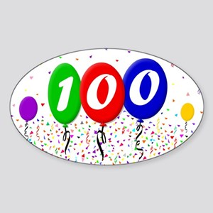 100th Birthday Oval Sticker