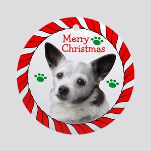 Merry Christmas Chi With Paws Round Ornament
