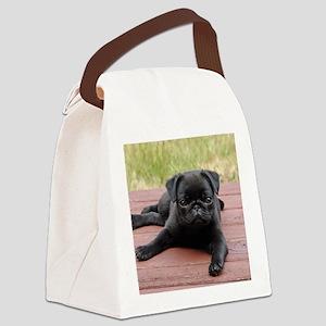 ALERT PUG PUPPY Canvas Lunch Bag